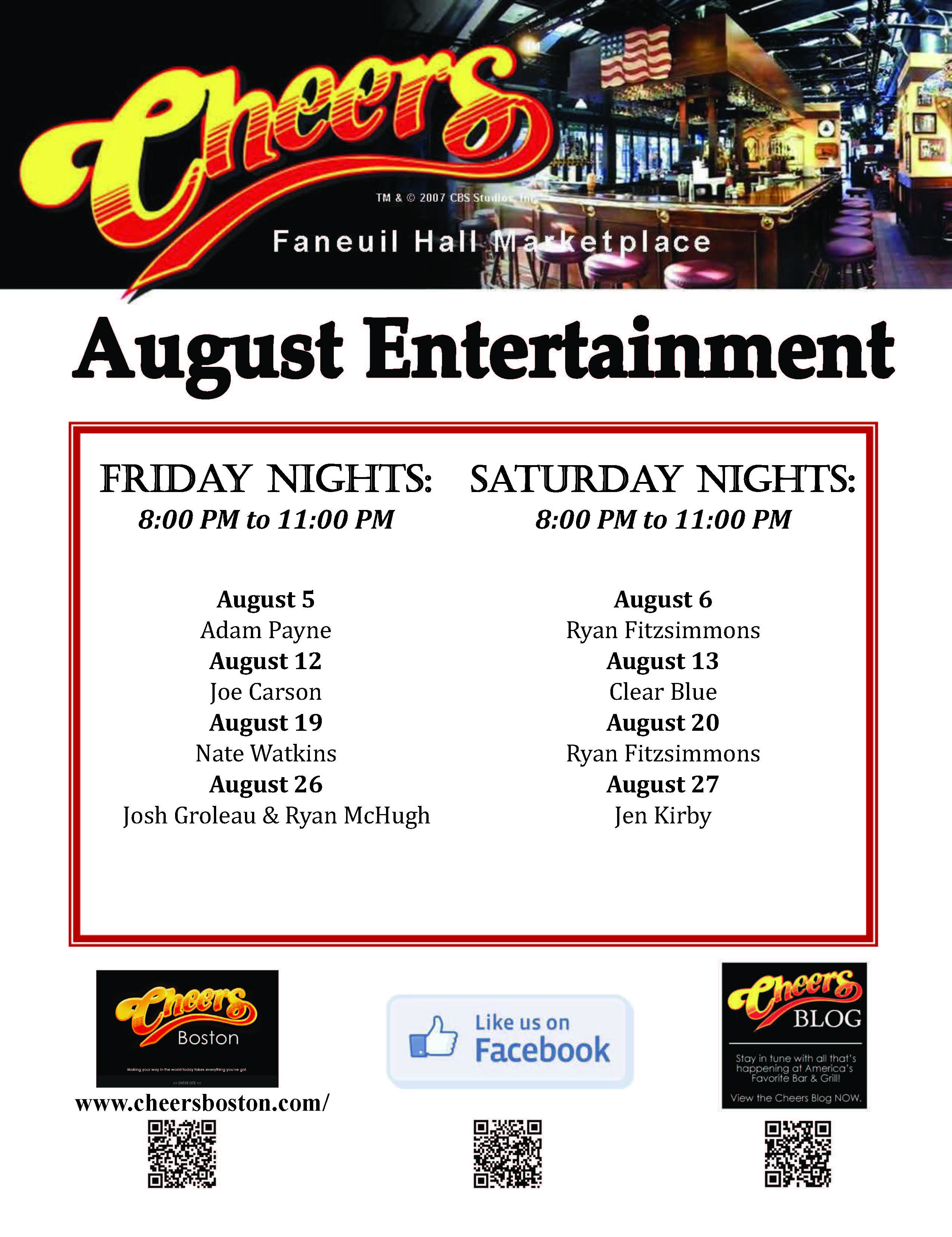 Join us at Cheers Faneuil Hall in the month of August for Live Entertainment