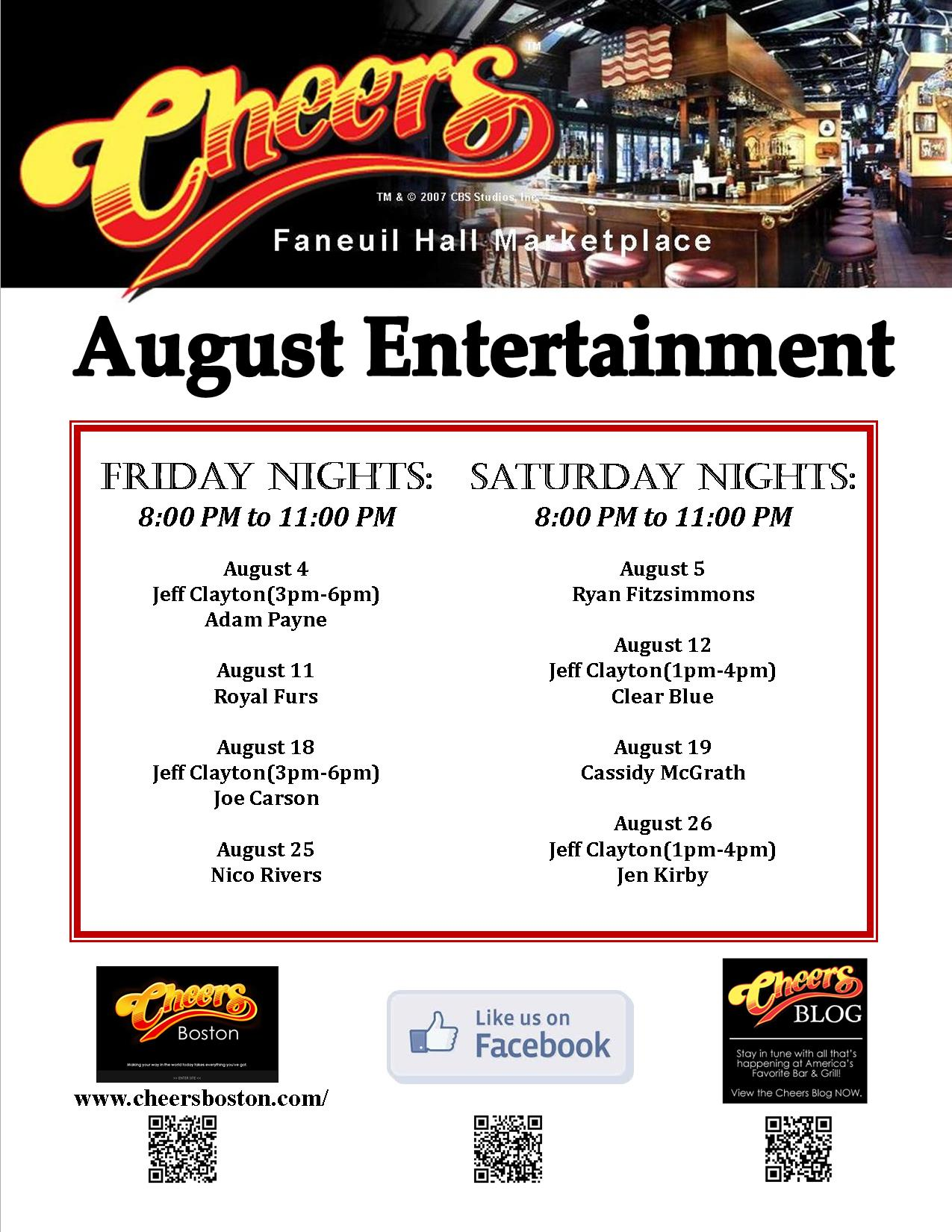 August Live Entertainment at Cheers Faneuil Hall