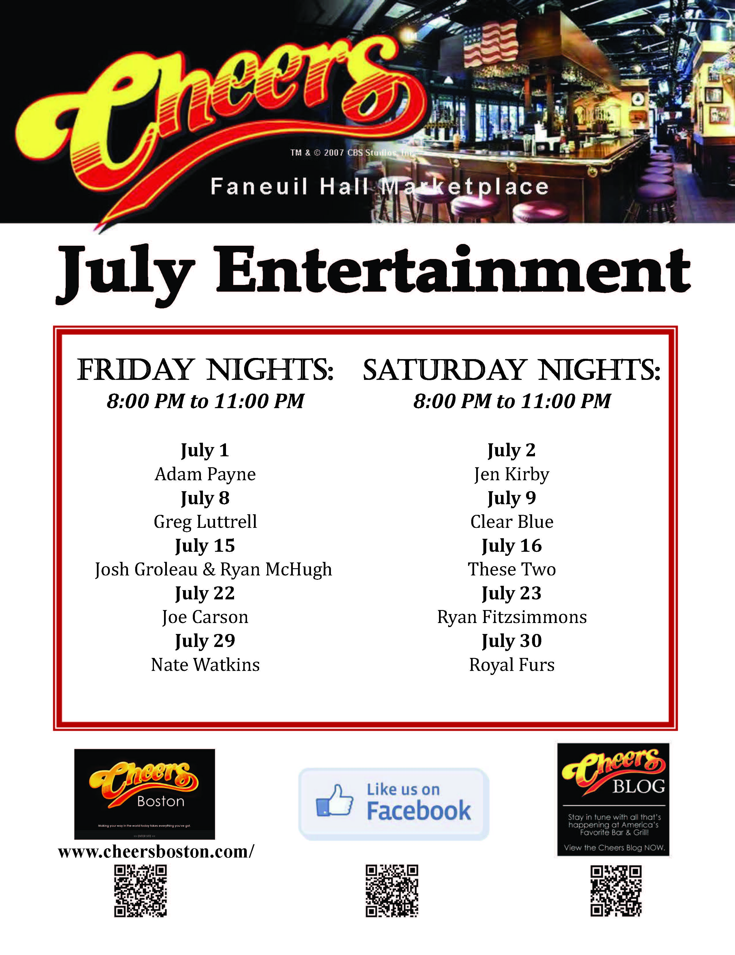 Join us for LIVE Entertainment at Cheers Faneuil Hall in July