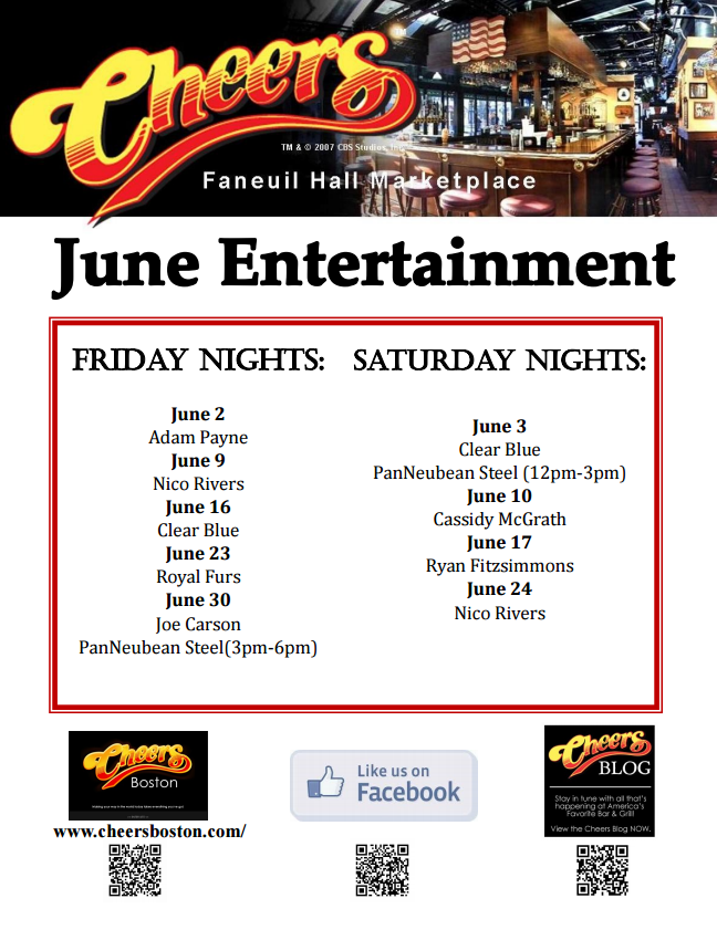 Join us for Live Music in Cheers Faneuil Hall during June