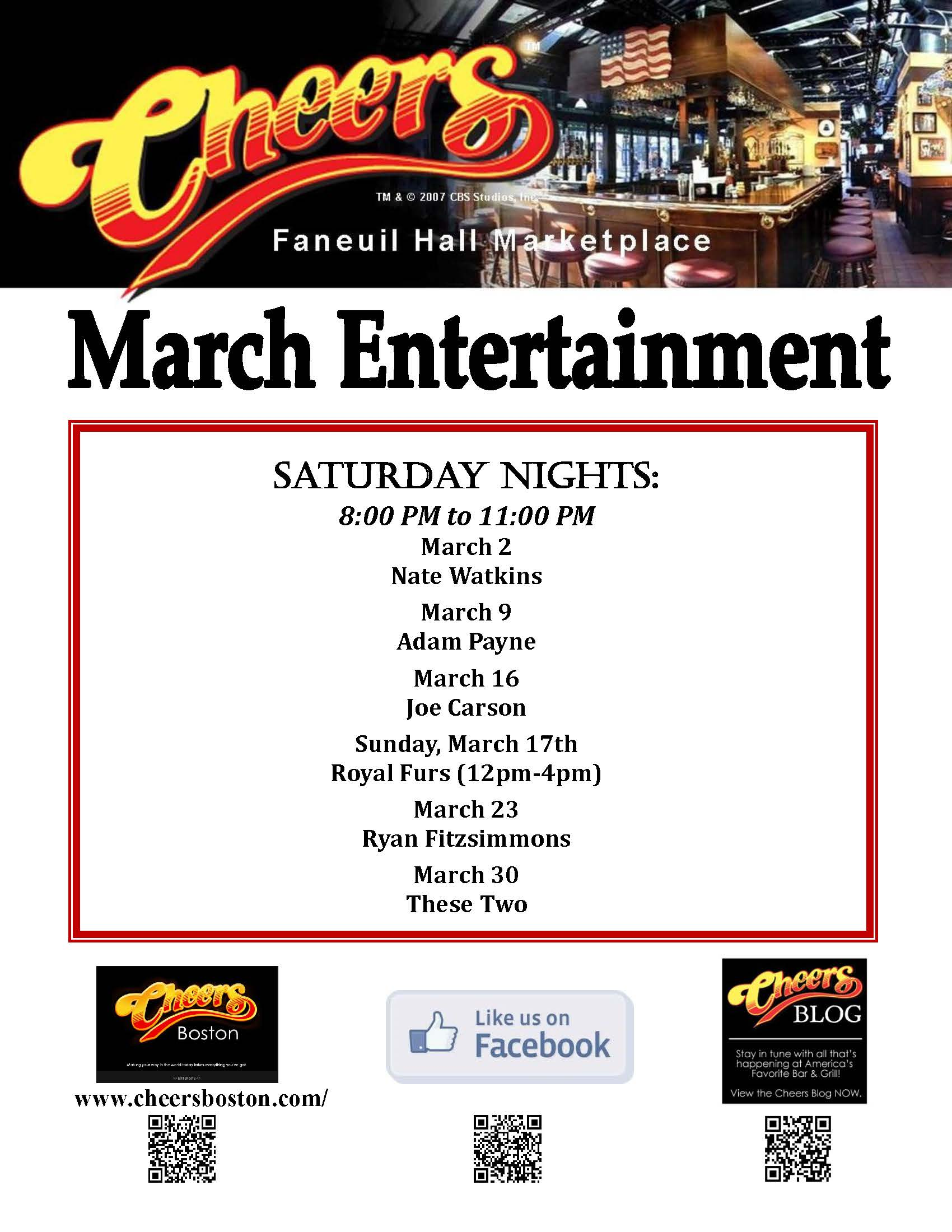 Join us for Live Entertainment @ Cheers Faneuil Hall