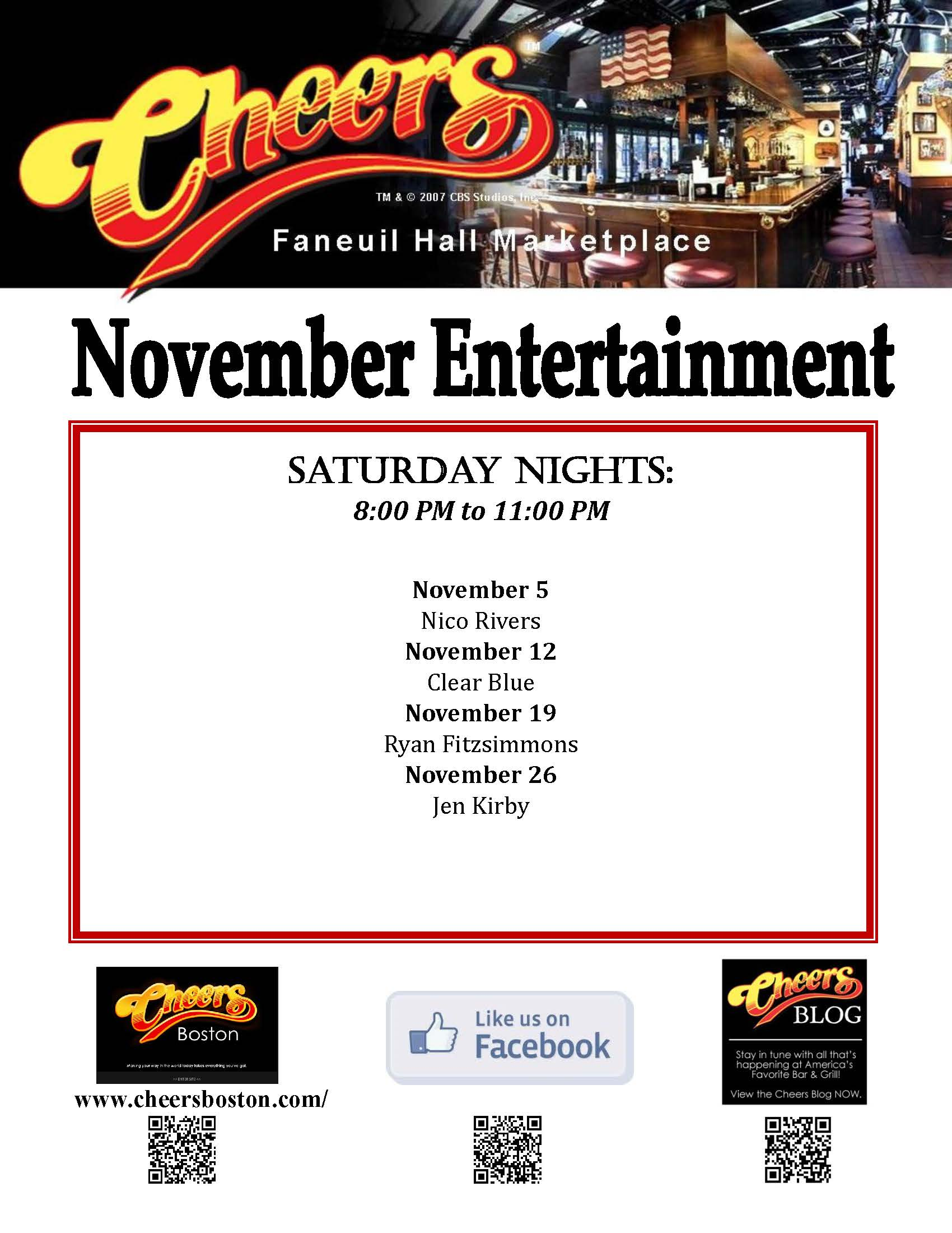 Visiting us in November - See our Live Entertainment at Cheers Faneuil Hall
