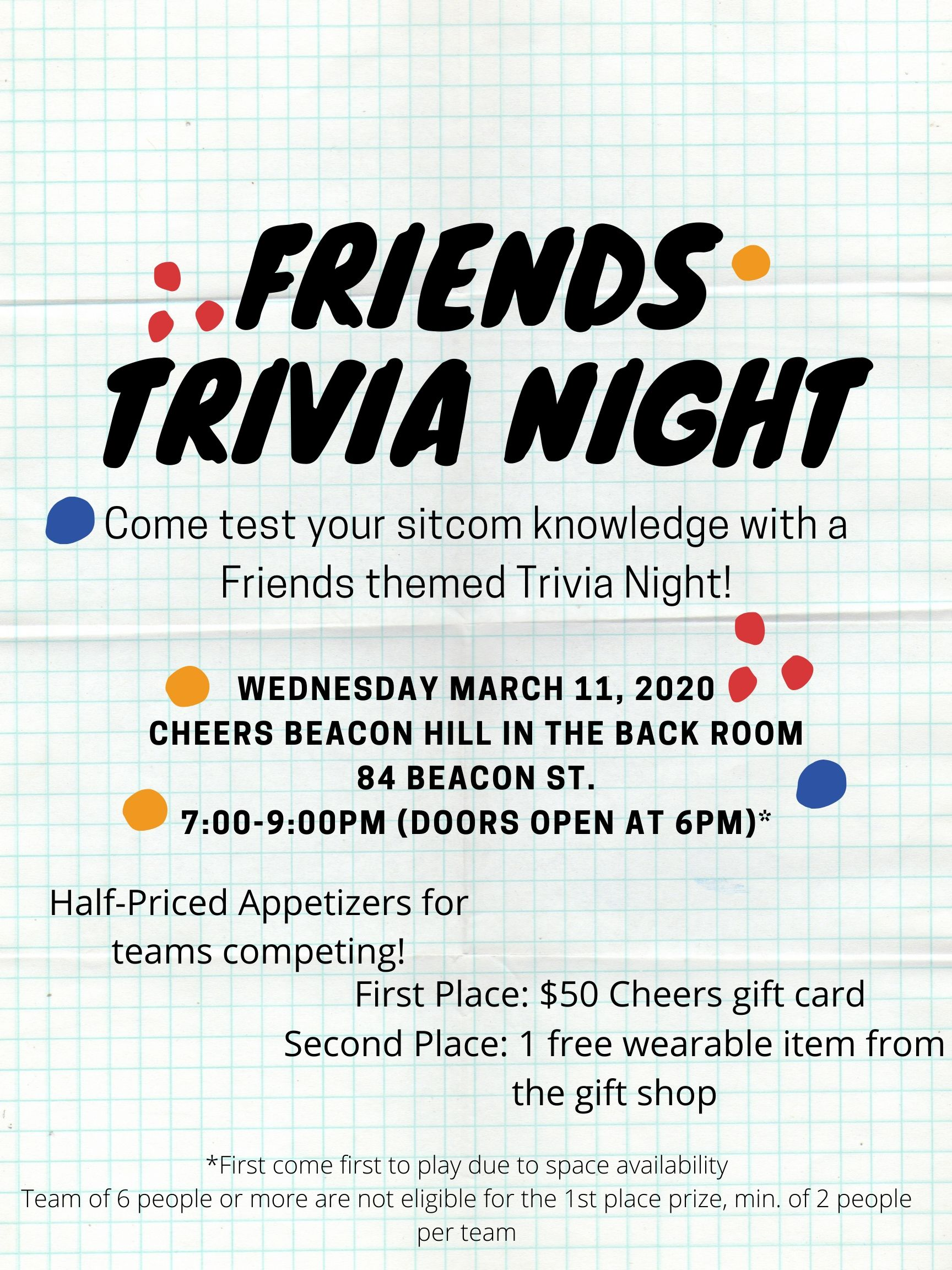 Cheers Beacon Hill - Friends Trivia 3/11