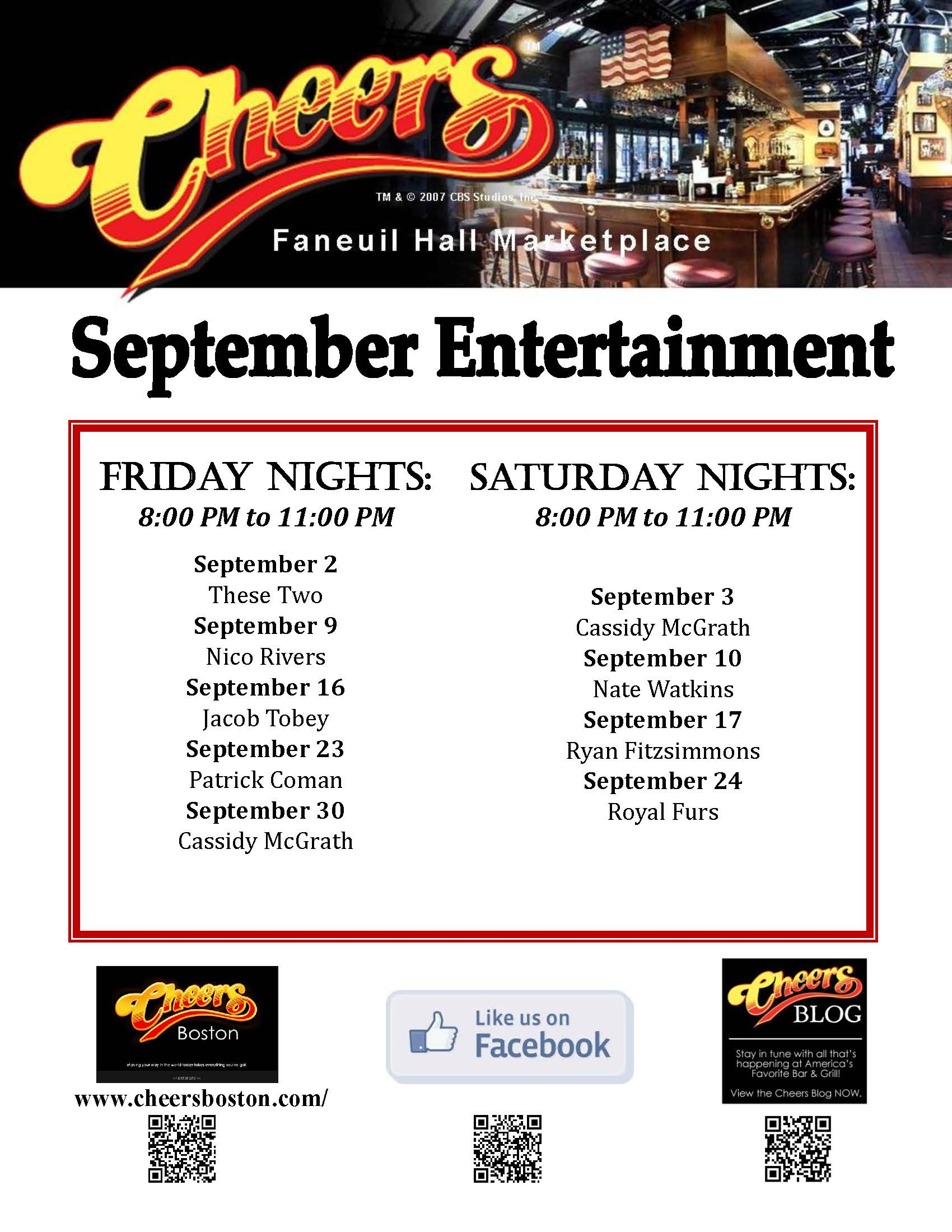 Join us at Cheers Faneuil Hall in the month of September for LIVE Entertainment